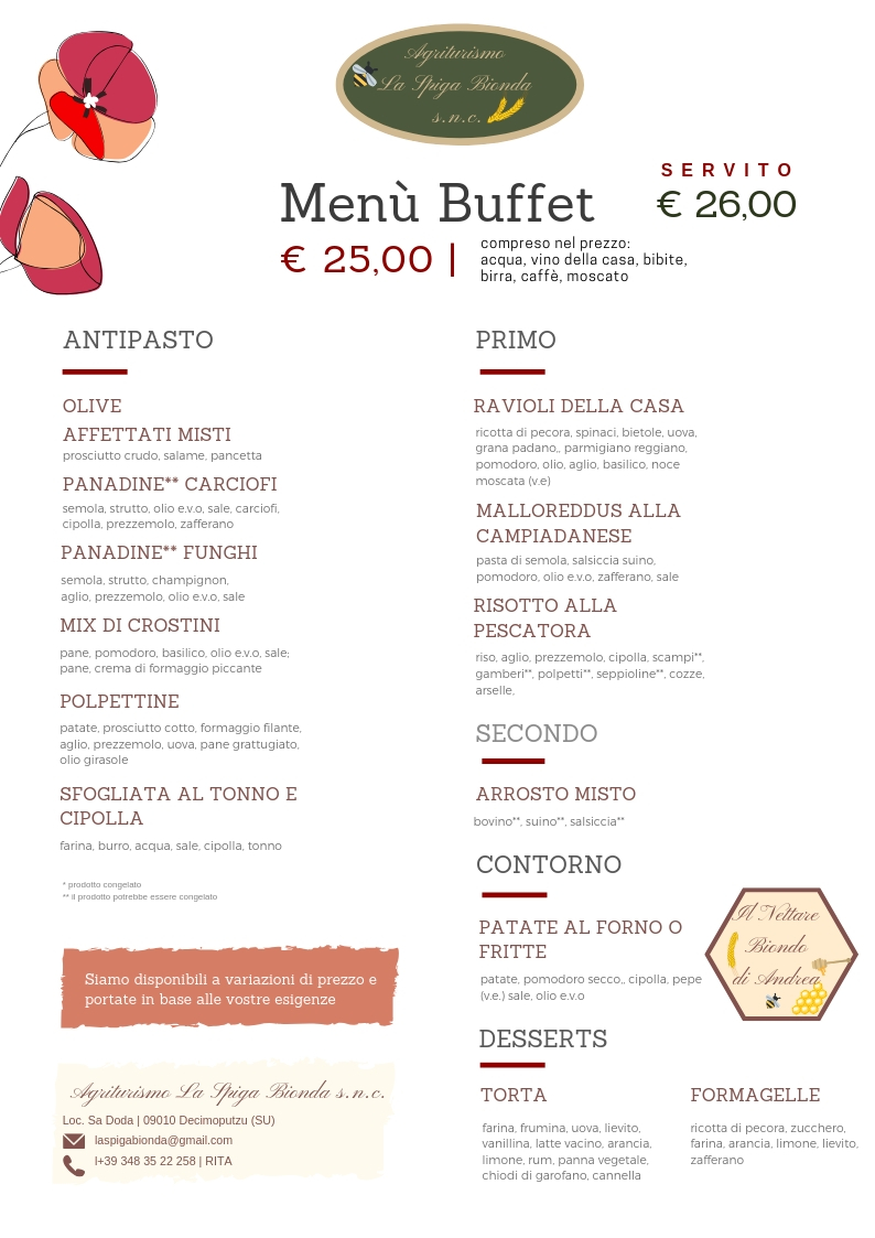 menu buffet 25